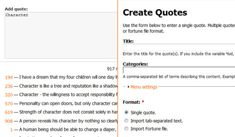 Admin: quote creation form (left is new)